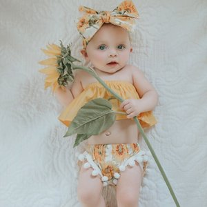 Emmababy 3Pcs Комплект одежды для новорожденных девочек с открытыми плечами + шорты с подсолнухом + комплект одежды для волос