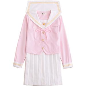 Uniforme Escolar japonés cosplay Mujeres Sakura Rosa Claro Tops + Falda Plisada Blanca Uniforme JK Niñas Traje de Marinero Japonés
