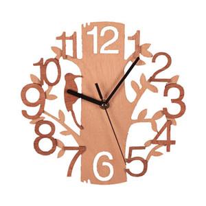 Madeira relógio de parede pássaro duplo moda estéreo relógio de parede circular grão de madeira de estar quarto quarto casa sem fronteiras decoração XD22955