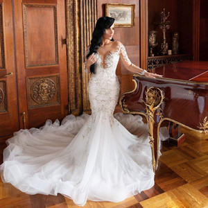 Luxury Beaded Mermaid Lace Wedding Dresses Sheer Jewel Neck Long Sleeves Bridal Gowns Chapel Train Tulle Trumpet robe de mariée