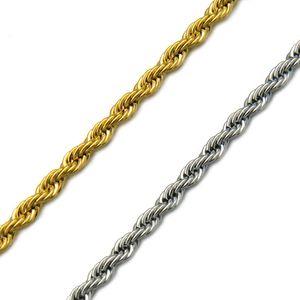 Hip Hop or Collier en acier inoxydable 304L hommes corde chaîne torsadée Colliers pour femmes Bijoux pour hommes