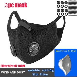 3pcs Filter Cycling Face Mask with Respirator Valve PM2.5 Mouth Mask Anti Dust Protective Outdoor Sports Outdoor Motorcycle Bicycle FFA3438