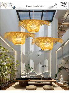 Nuovo cinese di bambù tessitura di vimini rattan paralume cap luce di soffitto e27 lampade lanterne soggiorno hotel ristorante corridoio lampada