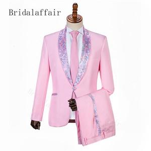 Bridalaffair 2019 elegante traje de hombre rosa traje de hombre para la cena de boda novio chaqueta de esmoquin pantalones 2 piezas bordado personalizado solapa T190910