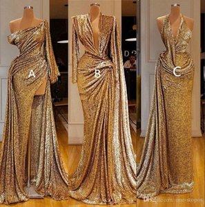 Sexy stupefacenti Prom Dresses oro riflettenti sirena con High Side Split una spalla sexy maniche lunghe sera convenzionale spettacolo abito su misura