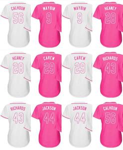 Costumbre 2016 Día de la Madre 44 Reggie Jackson Garrett Richards Kole Calhoun 29 Rod Carew 28 Heaney 9 Cameron Maybin béisbol camisetas de color rosa