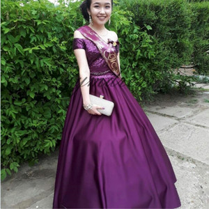 Purple Quinceanera Dresses 2019 Bateau Neck Floor Length A Line Prom Dress Sweet 16 Girls Birthday Party dress pageant dresses