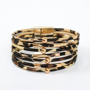 Cross-Border European and American Popular Alloy Magnet Buckle New Leopard Bracelet Beads Small Commodity Leather Bracelet Copper Tube Brace