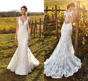 2019 Elegant Ivory Straps Deep V Neck Lace Mermaid Wedding Dresses Full Lace Tulle Summer Beach Wedding Bridal Gowns Illusion Back
