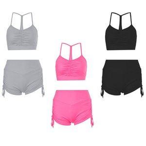 Estate delle donne 2 pezzi Outfits Set increspato Halter Bassiera alta coulisse in vita Biker Shorts Solido Colore Slim Tuta