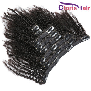 Cabeça cheia Kinky Curly Hair Clip extensões Natural Color peruana Remy Cabelo Humano Clipe Ins baratos Afro Curly Clip On extensões 8pcs 120g