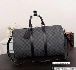Classique Lettre Brown Logo toile en cuir pour homme Duffel Sac style Big Taille sac à main femme Livraison gratuite N41413 41413 Menduffelbagbign