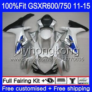 Iniezione per SUZUKI GSXR 600 750 GSXR750 bianco argento 11 12 13 14 15 16 298HM.14 GSXR-600 K11 GSXR600 2011 2012 2013 2014 2015 2016 Carena