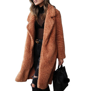 Inverno Plush lapela Neck Mulheres Long Coats Cardigan casacos de lã Mulheres Sólidos Casual Casacos