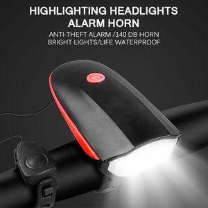 Bicicleta Sino Luz de carregamento USB Chifre impermeáveis luzes Durable Elétrica 5 Sounds 120dB Corno de Bell acessórios de bicicletas Night Lights