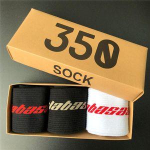 Mode Calabasas 350 Chaussettes en plein air pur coton étudiant Sports Loisirs Chaussettes respiration et la transpiration 3 paires / boîte