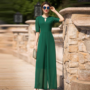 High Street Green Jumpsuit for Women Summer Evening Party Chiffon Elegant Full Length Rompers Plus Size 3XL 4XL