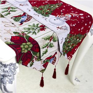 180 * 35cm Decorazioni di Natale Tovaglia Cotone Lino ricamo Snowman piano di stampa del partito della bandierina di natale di Natale Tabella Forniture WX9-1715
