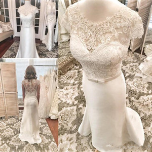 Real Pictures Cap Sleeves Lace Mermaid Wedding Dresses Scoop Button Back Custom Made Bridal Gowns Plus Size vestido de novia