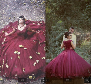 2020 new arrival burgundy prom dress ball gown lace appliques beaded vintage prom gowns cap sleeve sweet 16 long party dresses