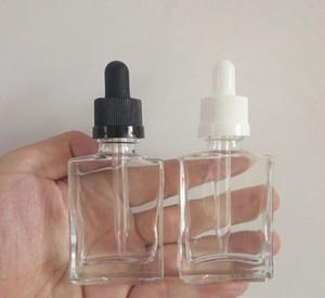 Temizle 30ml şişeler Damlalık Kare Cam Parfüm Beyaz Siyah çocukların açamayacağı Cap Free Shipping ile Eliquid Şişeler boşaltın