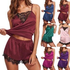 Las mujeres atractivas del cordón del verano pijamas de mangas Tops + Shorts Ropa de dormir Plus Tamaño de corte raso Cami ver a través de Pijama Mujer S-3XL