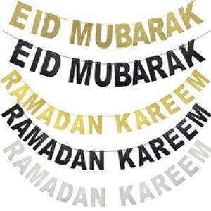 EID MUBARAK Bannière Glitter EID Festival Bruant Guirlande Islamique Musulman Mubarak Décoration RAMADAN KAREEM Bannière Ramadan Fournitures
