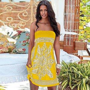 Summer Dress donne spalle Short Beach stampa floreale Abiti Vintage Print spostato la cassa Boemia Abiti trasporto libero