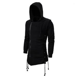 Espessura quente inverno Gentlemen Coats Mens Designer Outono e Inverno cor sólida casacos longos Moda com capuz Collar Outerwears com Zipper