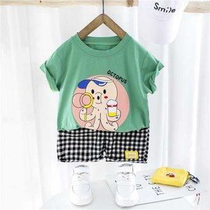 HYLKIDHUOSE 2020 Verão Meninos Meninas Vestuário Define camiseta manga curta infantil Shorts dos desenhos animados férias Crianças Roupa