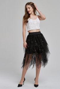 Mulheres Verão plissadas Ballet Ladies Tulle Pettiskirt Skirt Prom Bouffant Sólidos malha Patchwork Moda Verão Saias Feminino