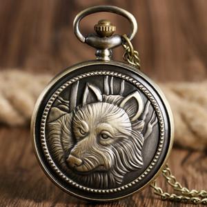 Relojes cadena de frío del collar del reloj de bolsillo del steampunk diseño del lobo Cabeza del análogo de cuarzo de bronce de época para Hombres Mujeres
