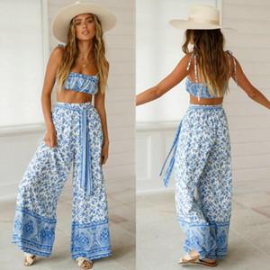 2 piezas de Mujeres Trajes sin mangas de la impresión floral de la cosecha pantalones largos Top Conjunto de vacaciones de verano Mono Ropa Casual