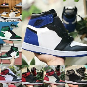 2020 New High OG Mens 1s Basketball Shoes Cheap Chicago Retroes Banned Fragment Bred Red Blue Gray White Black Toe Women 1s Trainer Shoes