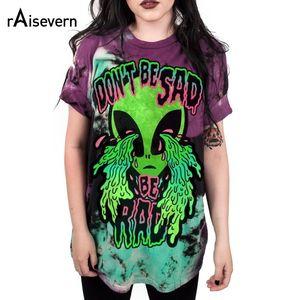 "Raisevern Marca 3d Imprimir Manga Corta Diseño Extraño ""Don't Be Sad"" Alien T Shirt Moda Mujer Camiseta Estilo Divertido Ojo Llorando Y19051301"