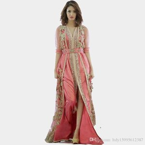 Pembe elbise Fas Türkiye elbiseler 2019 Yeni yüksek kalite uzun kollu elbise kumaş dubai İslam elbiseler abiye 238