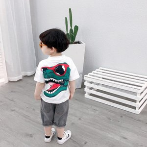Childrens Designer T-shirts Boys Summer Tops Boys Fashion Short-Sleeved T-shirts Kids Dinosaur Print Shirts 2020 New Style Casual Tops New