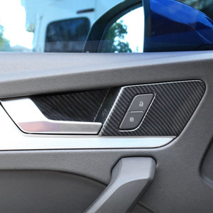 ABS Inner Door Bowl Frame Decoration Decals Car Styling For Audi Q5 FY 2018 2019 LHD Carbon Fiber Color Interior Accessories