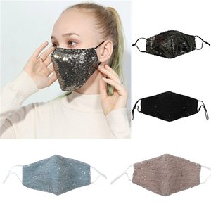 Fashion Sequins Mask PM2.5 Dustproof Mouth Cover Washable Reuse Face Mask Elastic Earloop Mouth Masks Free DHL