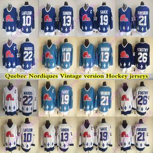 hommes de Nordiques de Québec CCM Vintage 19 SAKIC 13 SUNDIN 26 STASTNY 10 LAFLEUR 22 MAROIS 21 FORSBERG Hockey Jersey