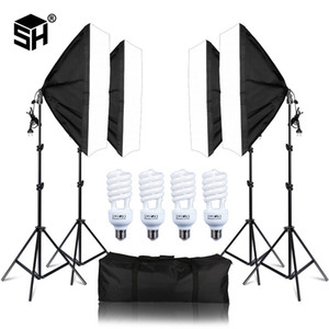 Cheap Studio Accessories Photo Studio 4PCS LED 20W Softbox Kit Photographic Lighting Kit Camera & Photo Accessories Light Stand Softbox for