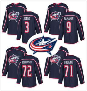 dos homens Columbus Blue Jackets 72 Sergei Bobrovsky 3 Seth Jones 9 Artemi Panarin 71 Nick Foligno bordado Logos Hockey Jerseys