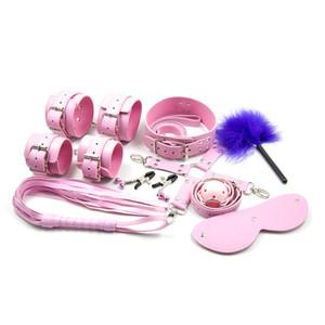 Pink Bdsm Parejas Esposas para Sexo Bondage Restricciones Máscara de ojos Cuello Boca Gag Ball Juegos para adultos Látigos Tobillo Puños Pezón Abrazaderas 9pcs / lot