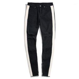 Pantaloni jeans Moda Slim Stripe Zipper Panelled Mens casuali della matita del progettista rivestite Maschi Abbigliamento Uomo Hole