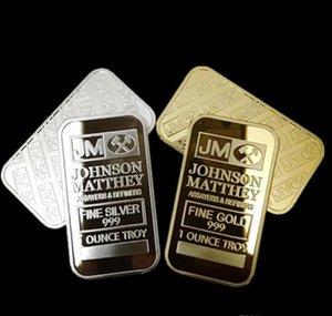 10 piezas de monedas no magnéticas Amerian JM Johnson Matthey 1 oz de plata puro de 24 quilates chapado en oro verdadero lingote con diferente número de serie
