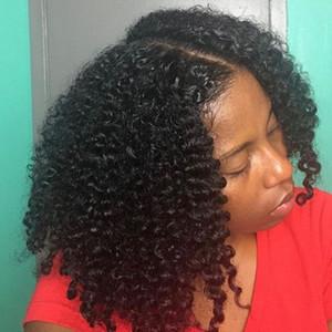 Seda Pelucas delanteras de encaje Pelucas Kinky Curly Glueless Full Lace Pelucas de cabello humano Base de seda 5x4.5 Nudos blanqueados