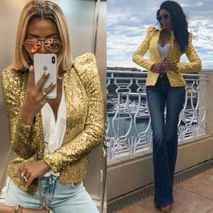 Women's Suits & Blazers Women Sequins Long Sleeved Shiny Party Blazer Coat Casual Sleeve Jackets Chemise Office Performance Stage