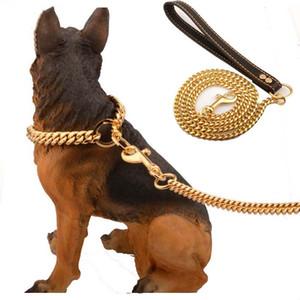 10мм золото поводок собаки Обучение Choke Lead для больших собак Pitbull Бульдог из нержавеющей стали Puppy Cat Обучение скольжению Воротник Поставки