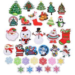Noel Stili Nakış Yama Isı DIY Giyim Etiketler Dekoratif Aplikler için diker Açık Yamalar On Demir Transferler