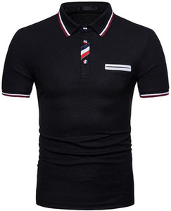 New Design, Men's Short-sleeve Polo Shirt, Button Matching Color, White, Black, Gray, Cyan , Four Styles, Size S-XXL.